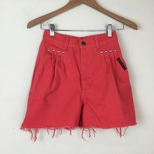 VTG Western Red Denim Cutoff Shorts Rodeo Cowgirl